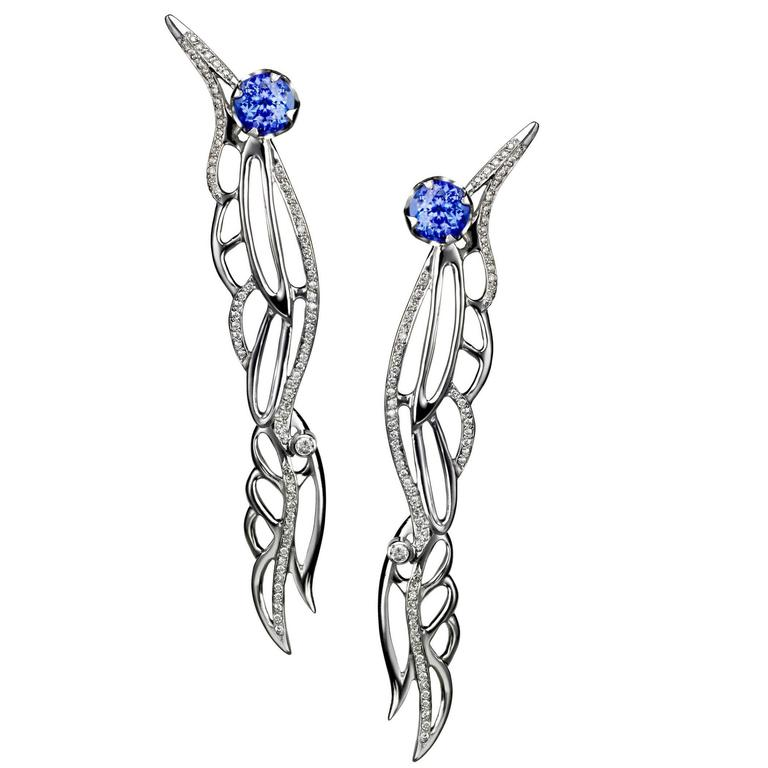 Ana De Costa White Gold Blue Round Tanzanite White Diamond Wing Drop Earrings