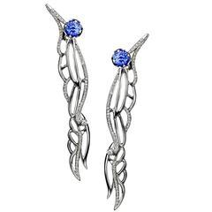 Ana De Costa White Gold Blue Round Tanzanite White Diamond Wing Drop Earrings