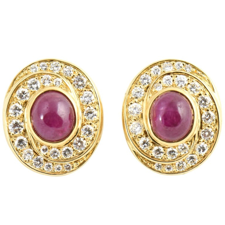 Burma Ruby and Diamond Swirl Gold Earclips For Sale