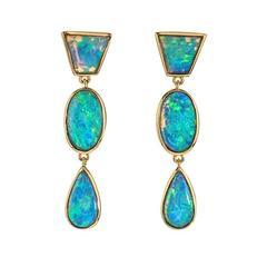 Contemporary Opal Dangle Drop Earrings