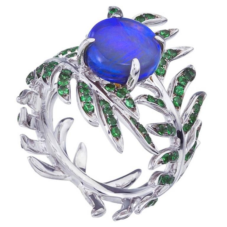 Opal Tsavorite Garnet Gold Fern Ring