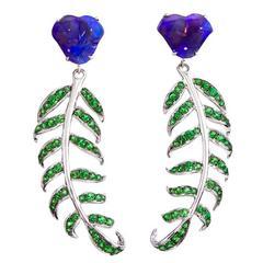 Katherine Jetter Opal and Tsavorite Lady of the Daintree Fern Earrings