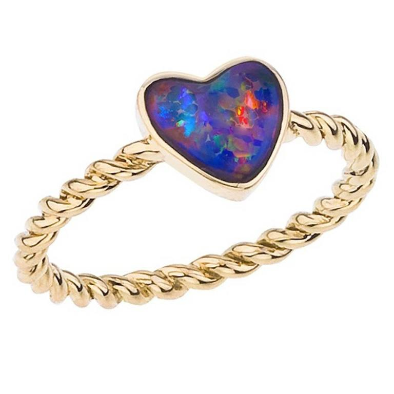 Opal Gold Heart Ring For Sale