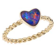 Opal Gold Heart Ring
