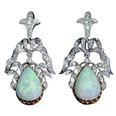 Opal Diamond Gold Earrings, circa 1950s
