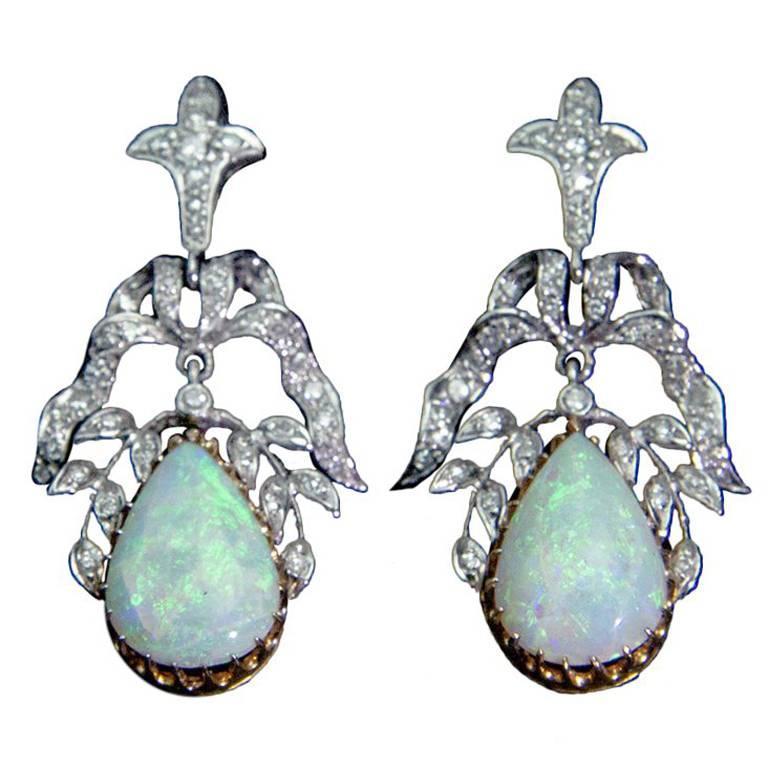 Opal Diamond Gold Statement Earrings Circa 1950s
