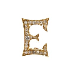 Gorgeous Victorian Diamond and Yellow Gold Initial E Pin