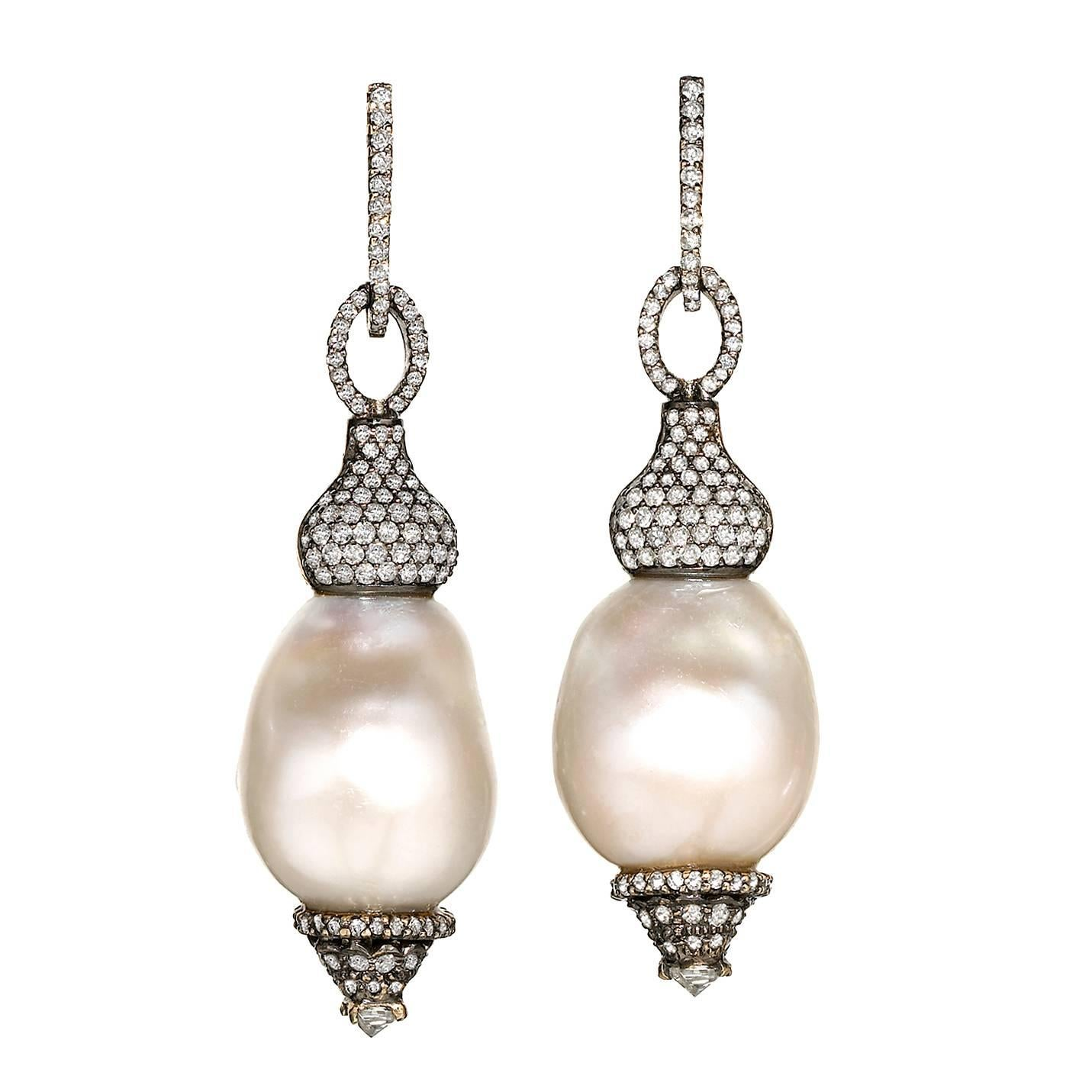 One of a Kind Baroque Pearl White Diamond Hollywood Drop Earrings