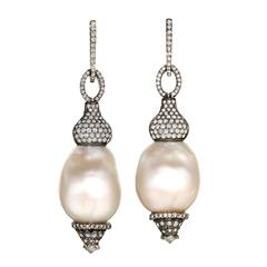 One of a Kind White Baroque Pearl Diamond Rhodium Silver Gold Drop Earrings