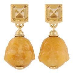 Yellow Jade Citrine Black Sapphire Gold Earrings