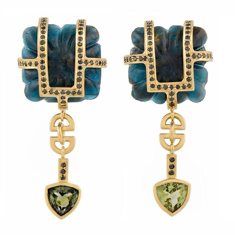 TPL Gold Black-Diamond Tourmaline Carved Kyanite Earrings For Sale