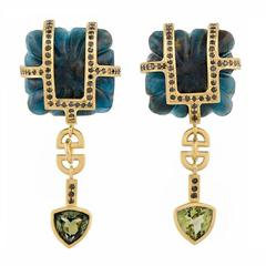 TPL Gold Black-Diamond Tourmaline Carved Kyanite Earrings