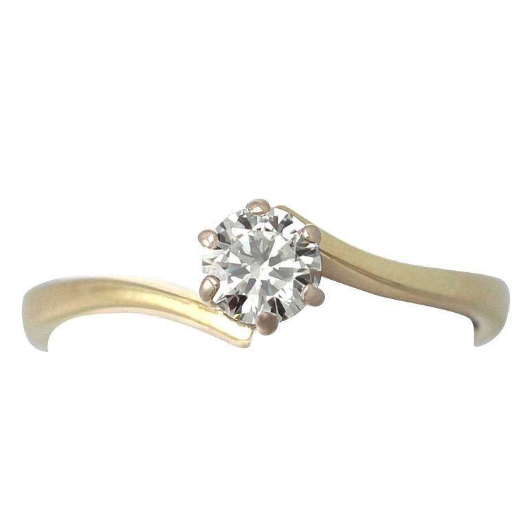 0.37Ct Diamond and 18k Yellow Gold Solitaire Twist Ring, Contemporary, 1996