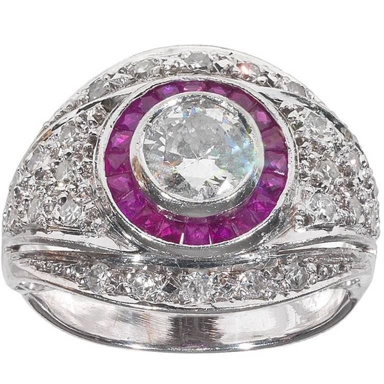 Art Deco Ruby Diamond Platinum Engagement Ring 1
