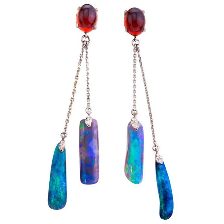 Blue Opals, Red Garnet Dangle Earrings 1