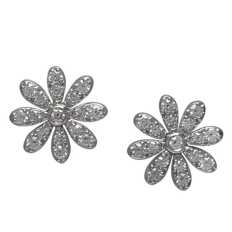 Tiffany & Co. Diamond Gold Daisy Earrings For Sale
