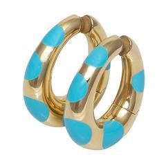 Bulgari Gold Oval Hoop Earrings