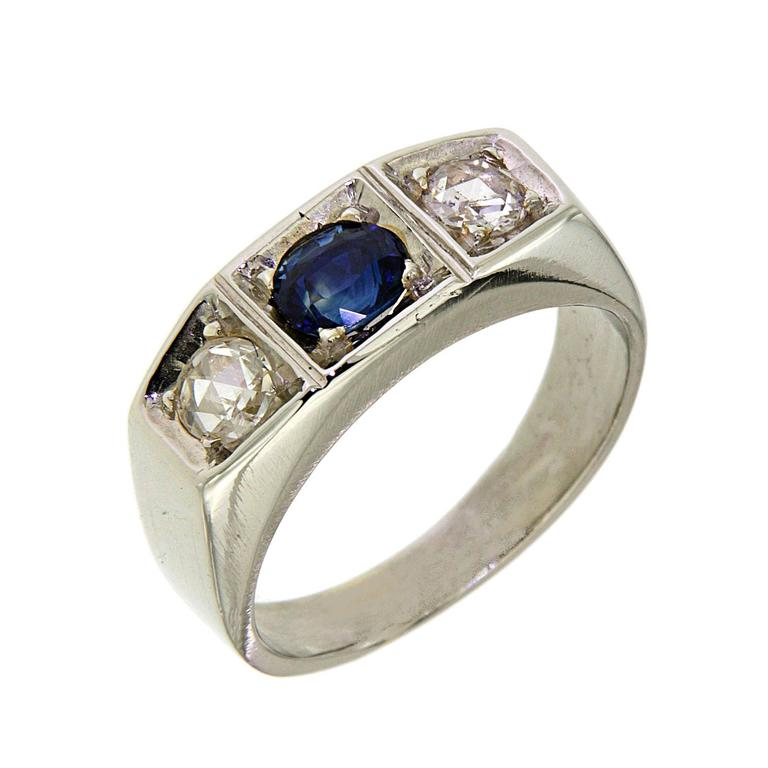 1930s Blue Sapphire Diamonds White Gold Band Ring For Sale