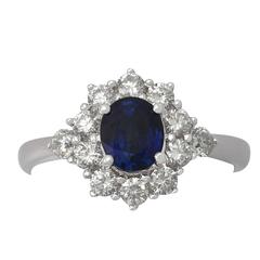 1970s 1.21 Carat Sapphire and Diamond White Gold Cocktail Ring
