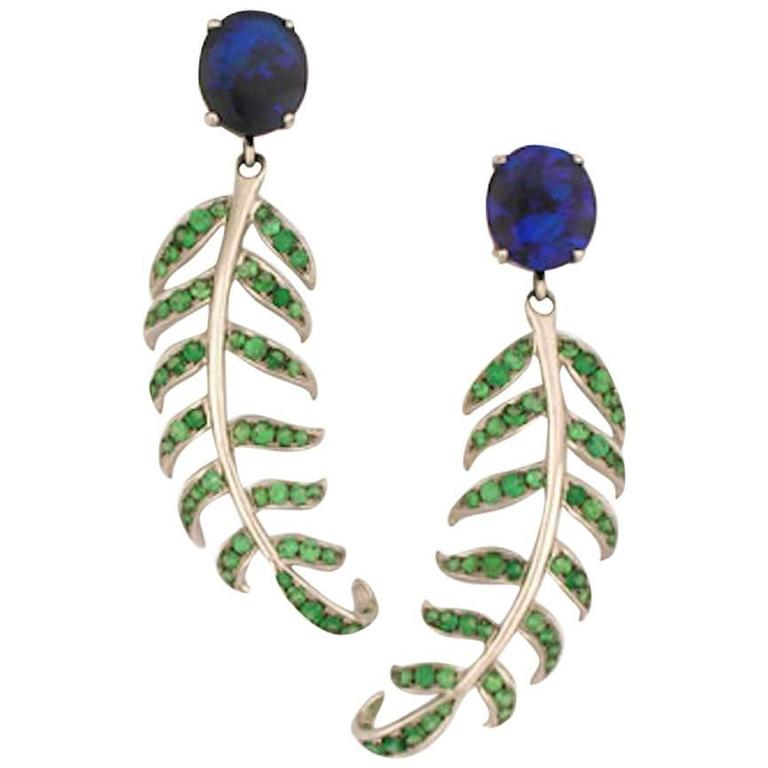 Opal Tsavorite Garnet Gold Fern Earrings