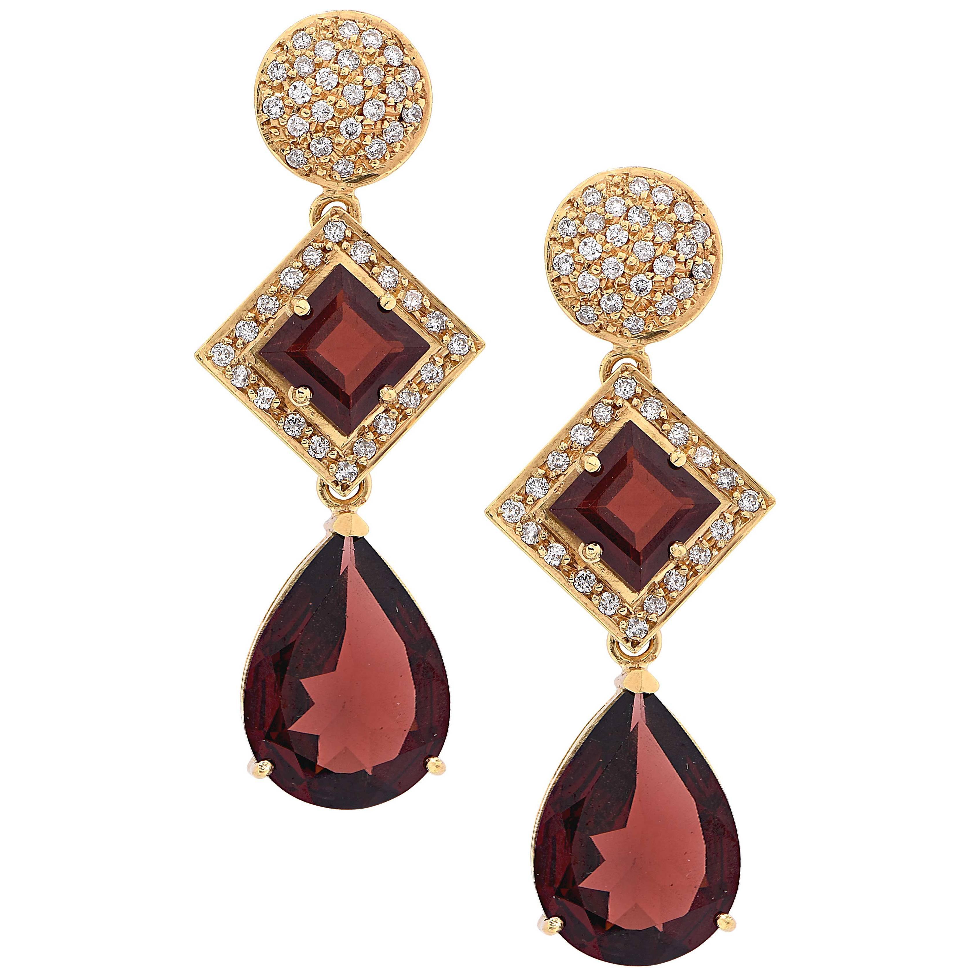 Almandine Garnet Diamond Yellow Gold Drop Earrings