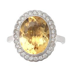 1960s 4.15 Carat Citrine and Diamond White Gold Cocktail Ring