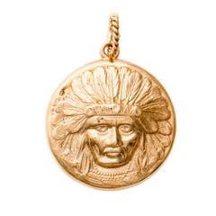 Native American Chief Gold Portrait Pendant