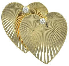Tiffany & Co. Double Heart Diamond Gold Pin