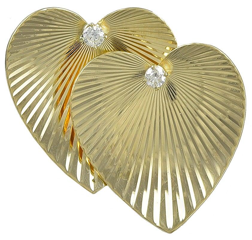 Tiffany & Co. Double Heart Diamond Gold Pin