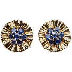 Trabert & Hoeffer Mauboussin Burma Sapphire Gold Earrings