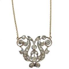 Gorgeous Belle Époque Diamond Gold Platinum Necklace