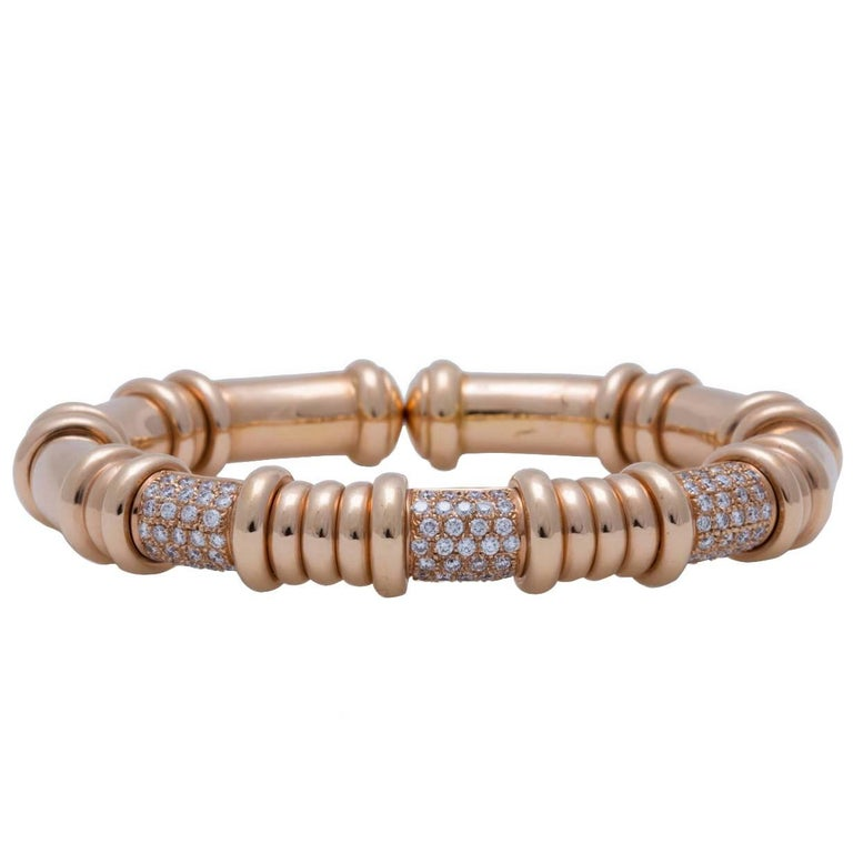 18K Rose Gold and Diamond Bangle Bracelet
