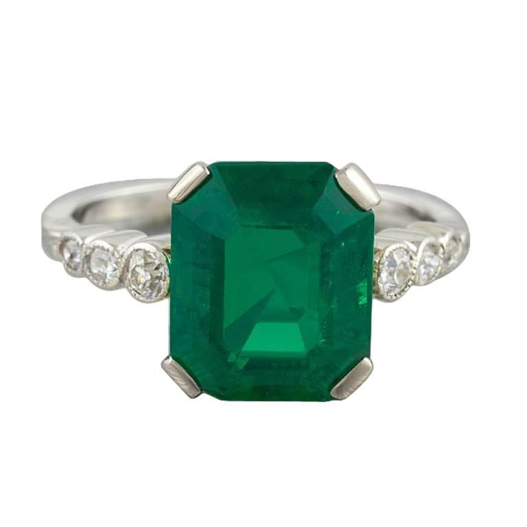 deco emerald and platinum ring at 1stdibs
