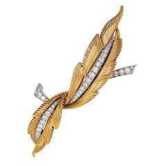Van Cleef & Arpels Mid-20th Century Diamond Gold and Platinum 'Feathers' Brooch