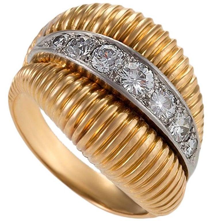 Van Cleef & Arpels 1950's Diamond Gold Platinum Ring