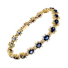 Blue Sapphire Diamond Yellow Gold Bracelet