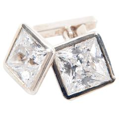 Oversized Crystal and Silver Spectacular Cufflinks