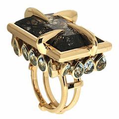 Tourmalinated Aquamarine Enamel Quartz Gold Ring