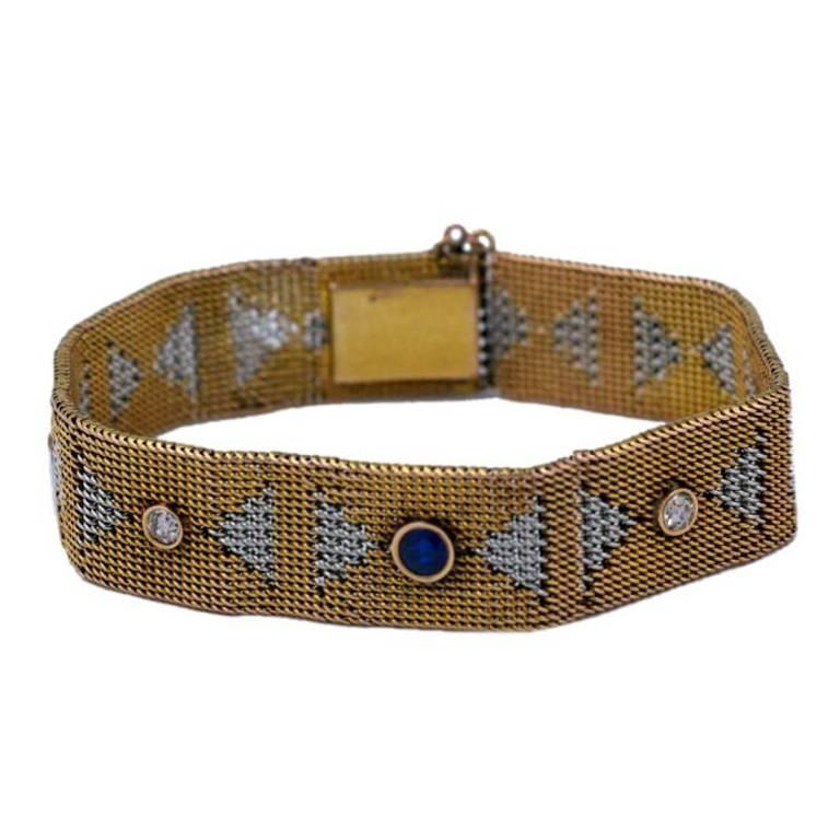 Yellow and White Gold Deco Mesh Bracelet with Stones For Sale