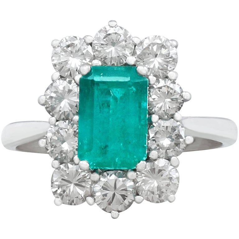 1.57Ct Emerald & 1.72Ct Diamond, 18k White Gold and Cluster Ring - Vintage