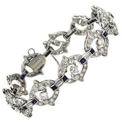 Diamond Platinum Art Deco Bracelet with Sapphire Accents