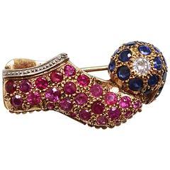 Vourakis Tsarouhi Ruby Sapphire Diamond Gold Platinum Brooch