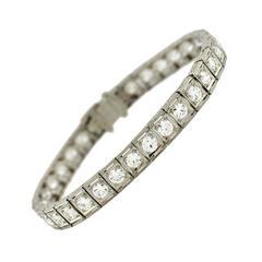 Art Deco Diamond Platinum Line Bracelet