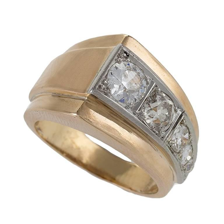 deco gold and platinum ring at 1stdibs