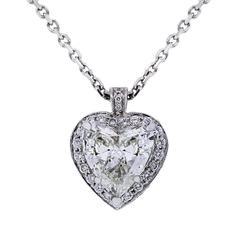 4.17 Carat GIA Cert Diamond Gold Heart Pendant Necklace