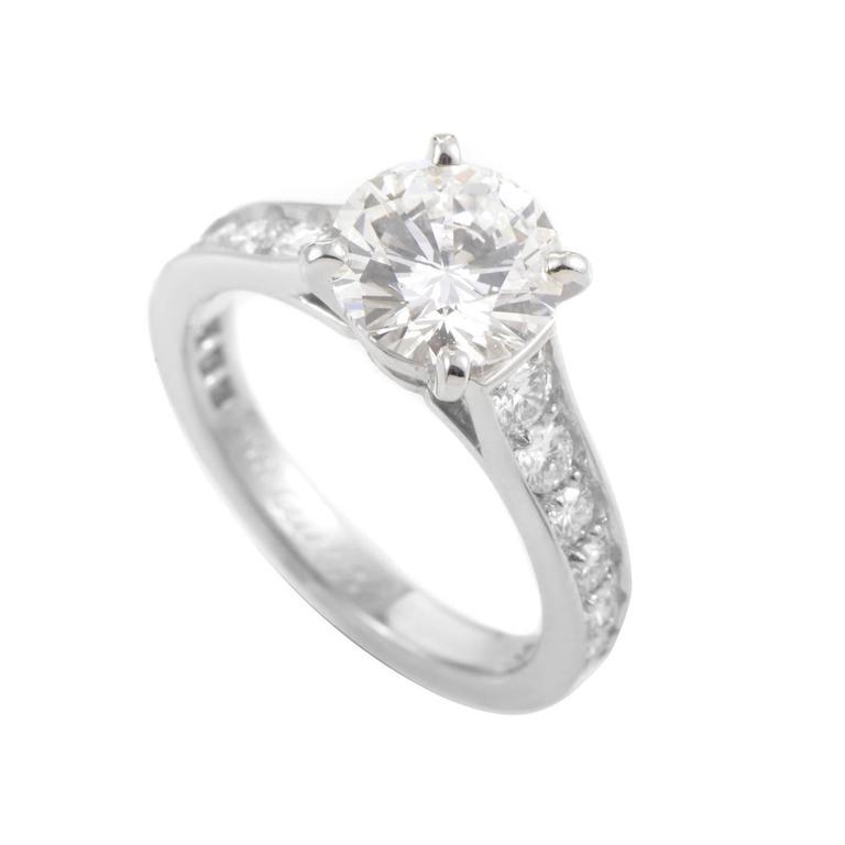 Cartier Platinum GIA Cert 1 70 Carat Diamond Platinum Engagement Ring at 1stdibs