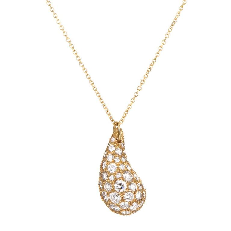 f419d2467 Tiffany & Co. Elsa Peretti diamond pave Gold Teardrop Pendant Necklace For  Sale