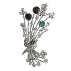 3.20Ct Diamond & 1.79Ct Garnet, Emerald & Sapphire, Platinum Brooch - Vintage