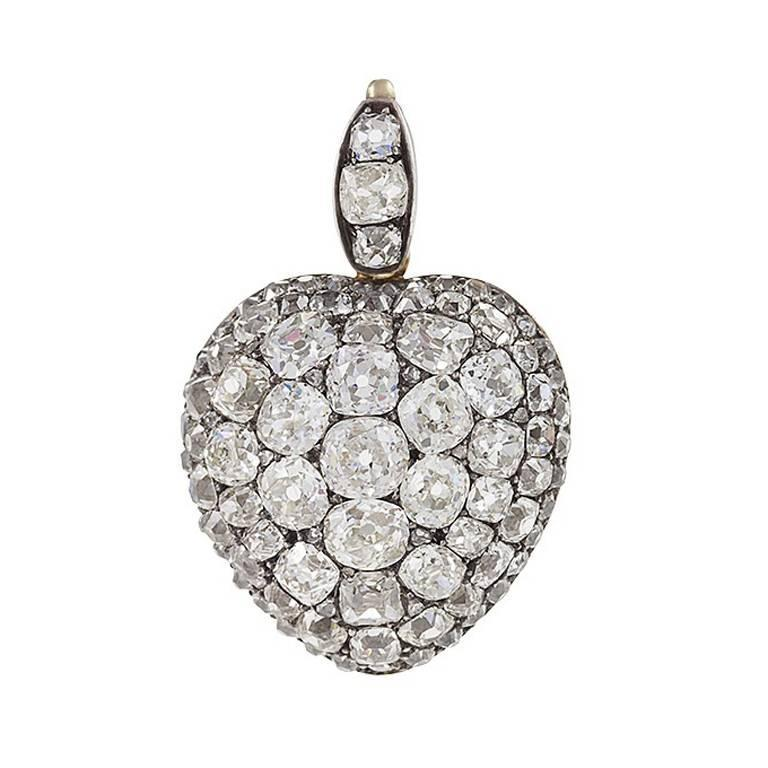 Antique diamond gold and silver heart pendant for sale at for The triumph of love jewelry 1530 1930