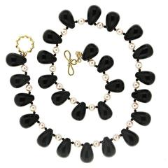 Onyx Akoya Pearl Necklace